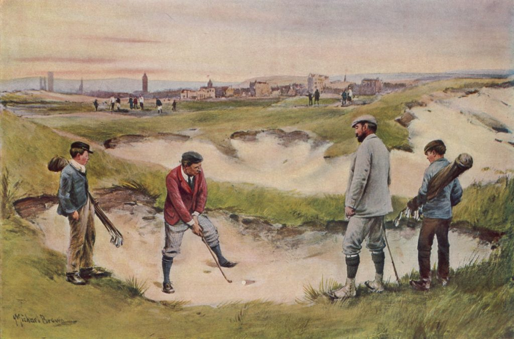 A painting of historical golf.